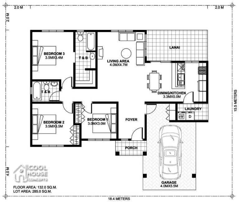 Home Design Plan 18x15m With 3 Bedrooms Home Ideas Home Design Plan Two Bedroom House Design Modern House Floor Plans