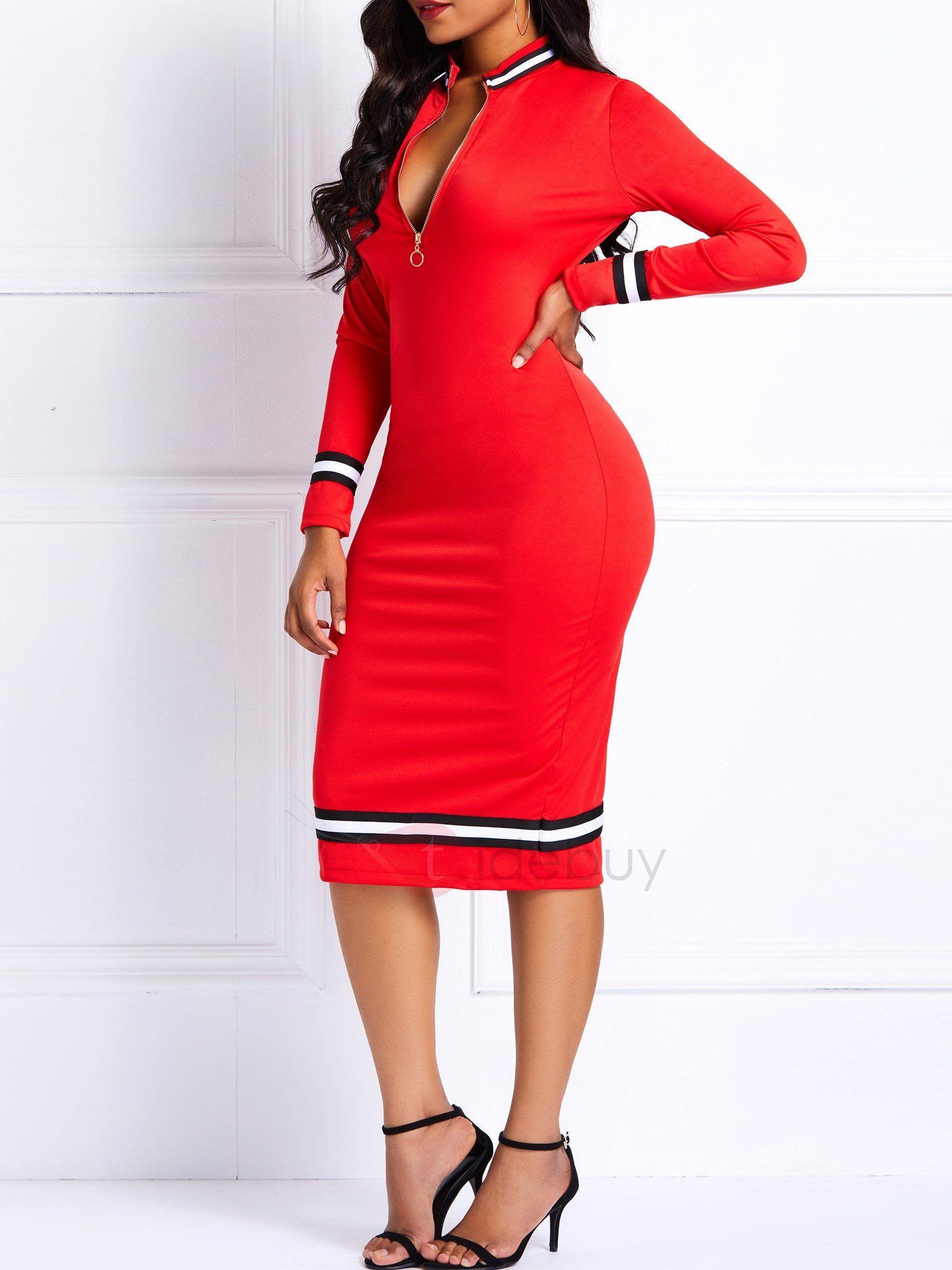 1bbda1972b Knee-Length Polyester Color Block Women s Bodycon Dress Bodycon Dress casual  classy  Bodycon