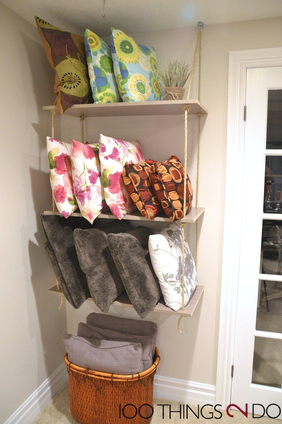 Bon Throw Pillow Storage, DIY Rope Shelves, Rope Shelf, Throw Pillow  Organization, Organizing Throw Pillows
