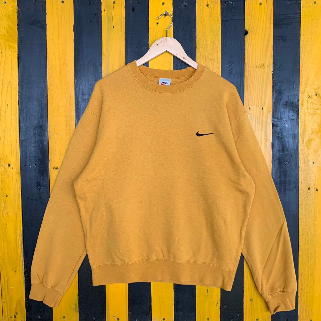Excited To Share The Latest Addition To My Etsy Shop Vintage 90s Nike Small Swoosh Sweatshirt Jumper Pullover Yellow Colour Sweatshirts Clothes Used Clothing [ 1242 x 1242 Pixel ]
