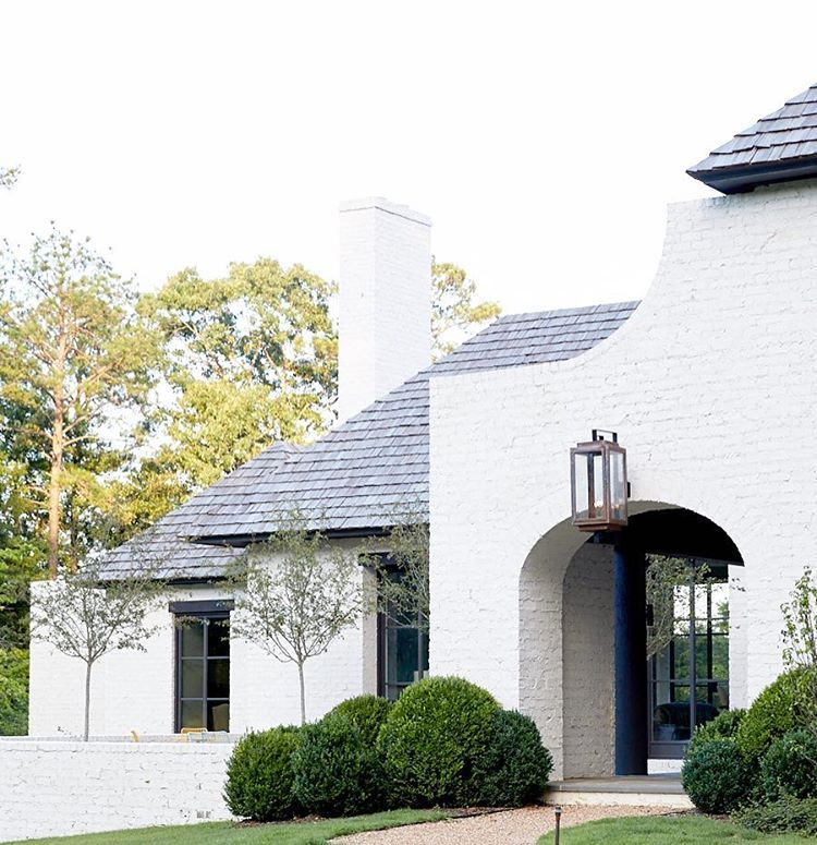 White brick exterior with statement lantern!!!