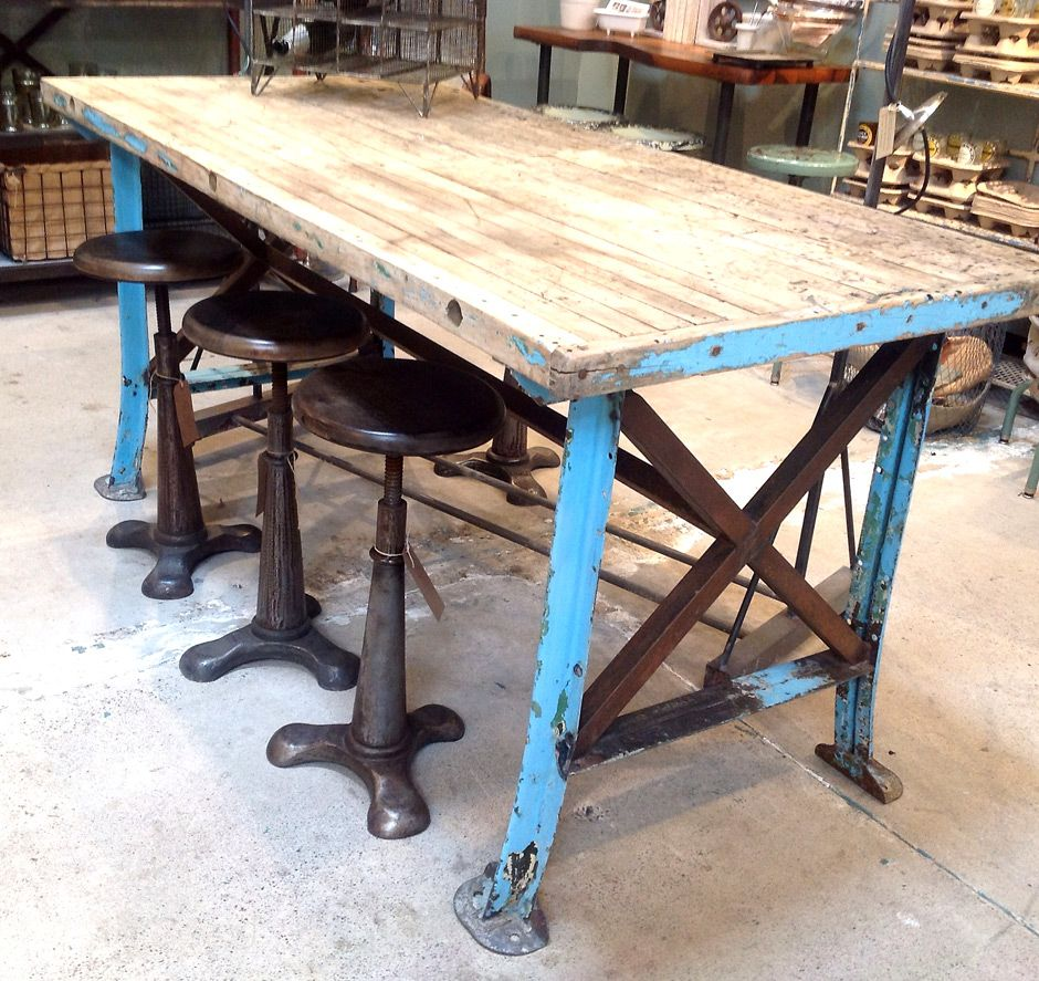 Steel And Reclaimed Wood Furniture | Vintage Worktable Blue Metal Legs  Reclaimed Wood Top Jennifer Price