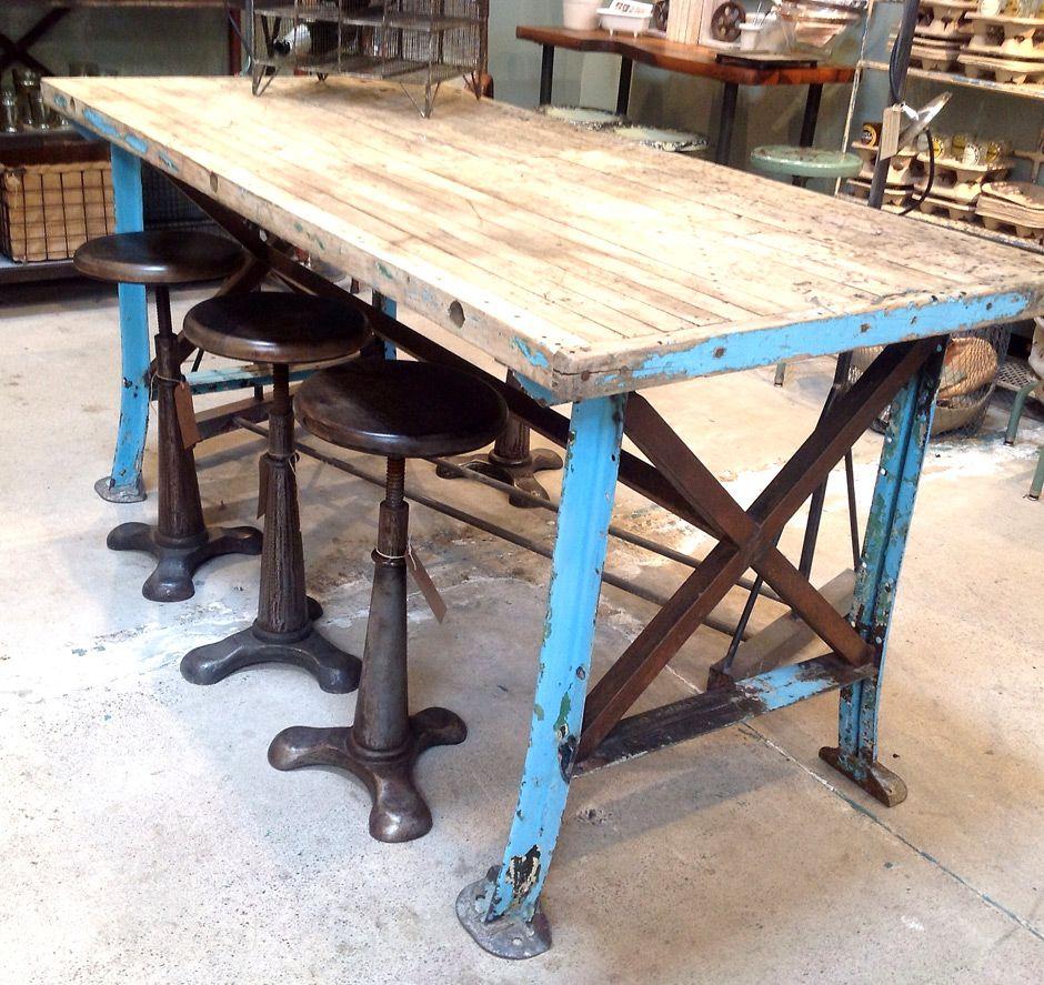 Steel And Reclaimed Wood Furniture Vintage Worktable Blue Metal