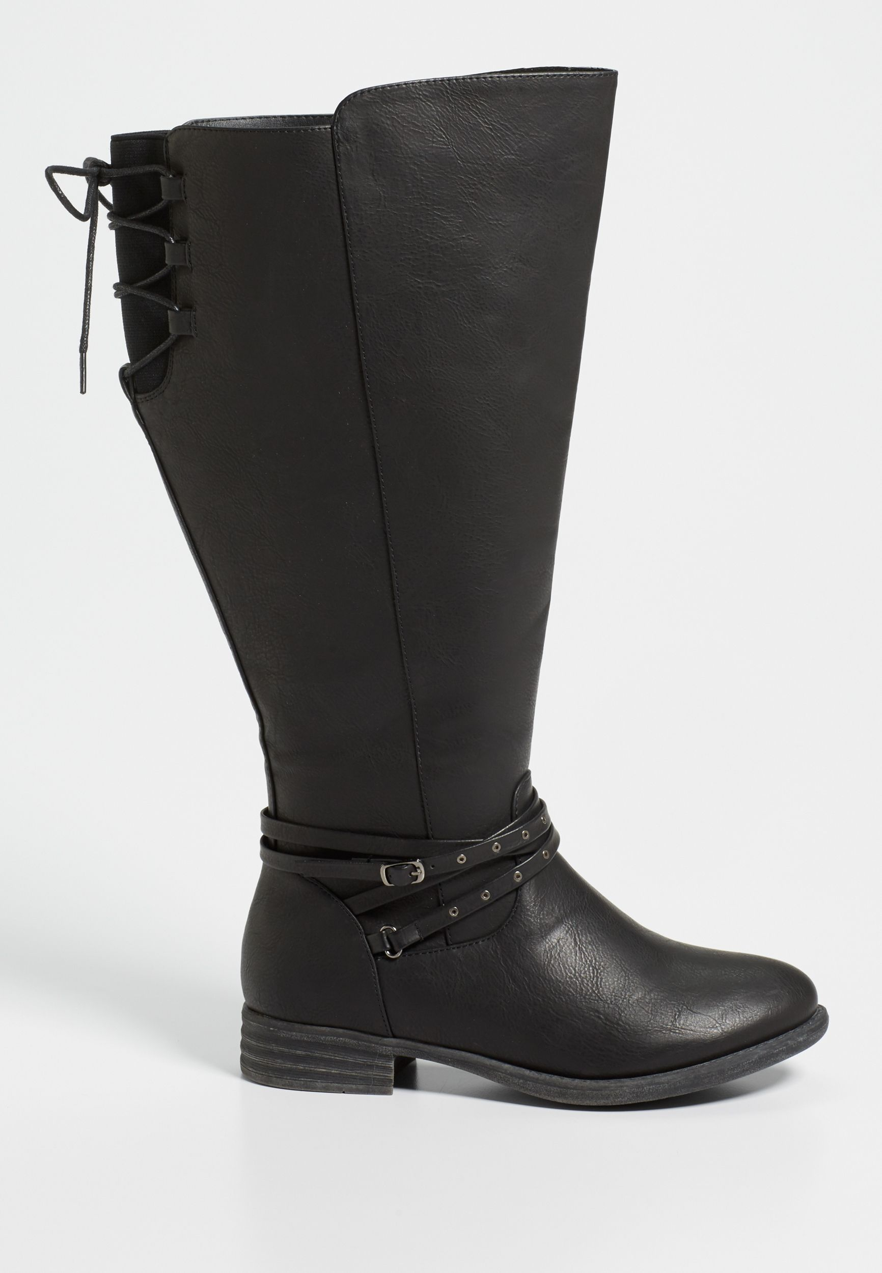 73ab3ac75c4 Shauna extra wide calf boot with lace up detail in black in 2019 ...