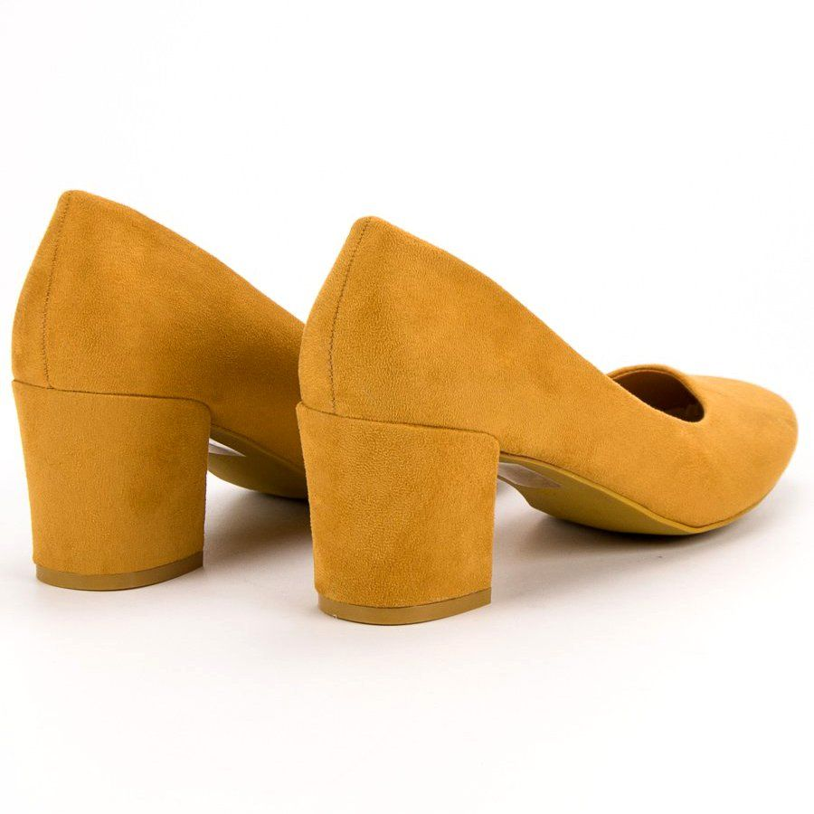 e10572a1 #Czółenka #Damskie #IdealShoes #Ideal #Shoes #Żółte #Musztardowe #Czółenka  #Na #Słupku