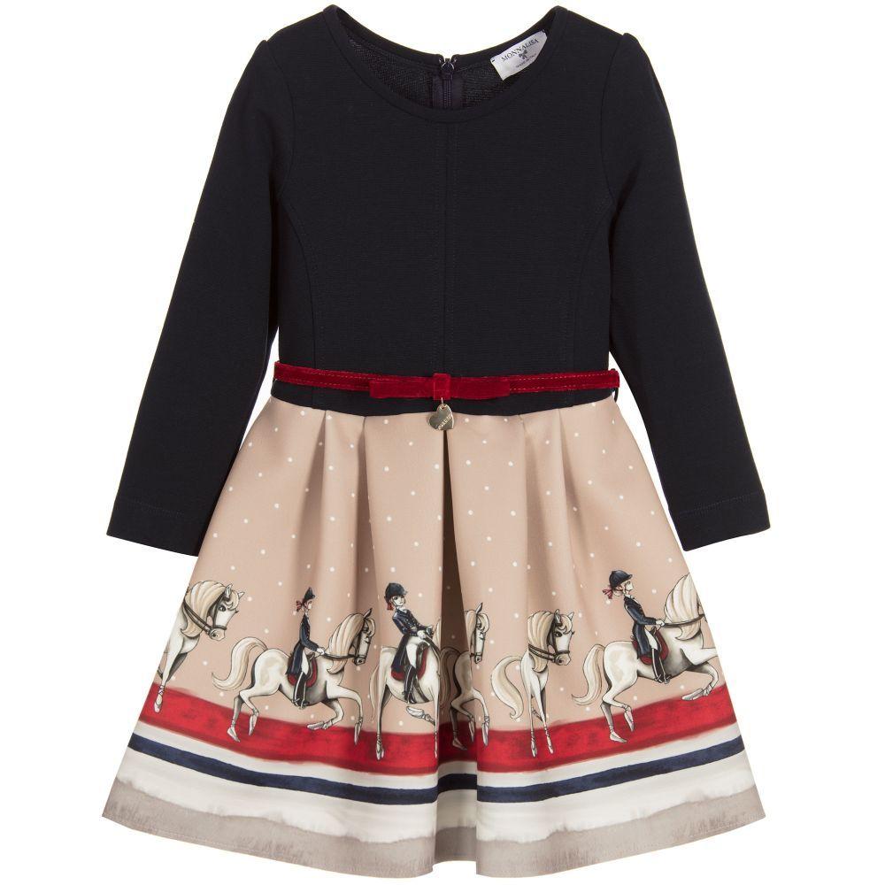 0137e2a963829 Monnalisa - Girls Navy Blue   Beige Dress