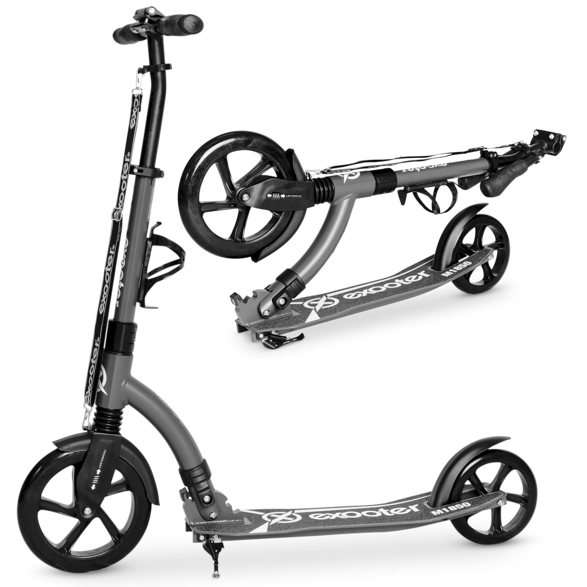 exooter m1850cb 6xl adult kick scooter with front shocks and 240mm Kymco Motor Scooters exooter m1850cb 6xl adult kick scooter with front shocks and 240mm 180mm black wheels in charcoal finish