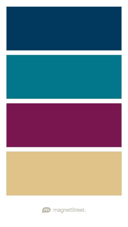 Navy, Peacock, Sangria, and Gold Wedding Color Palette - custom color palette created at MagnetStreet.com