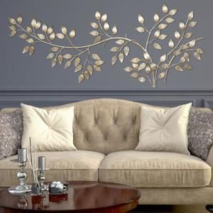 Stratton Home Decor Brushed Gold Flowing Leaves Wall Decor-SHD0106 - The Home Depot