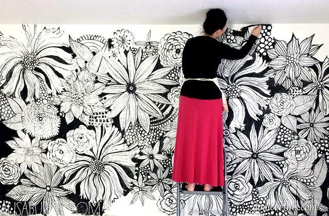 фото рисунки на стене своими руками