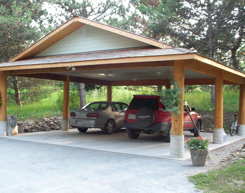I Ve Always Appreciated The Simplicity Of This Simple Log Post And Beam Carport I Designed Many Years Ago Loghome Carport Designs Carport Addition Carport