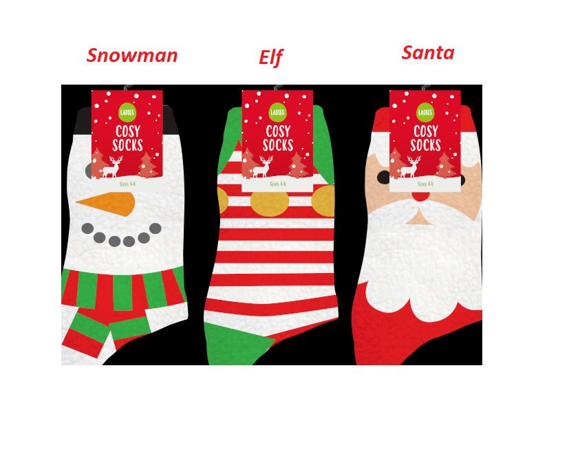1 Pair of Ladies Festive Christmas Novelty Cotton Socks Size 4-8 UK 5 Designs