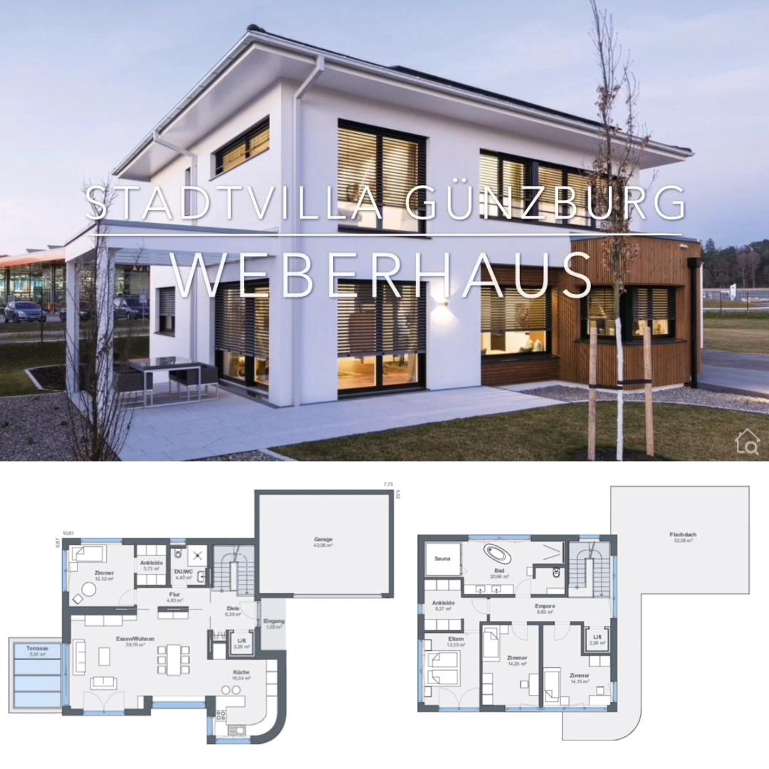 Stadtvilla Grundriss modern mit Garage, Erker & Walmdach - Haus Ideen mit Putz Fassade