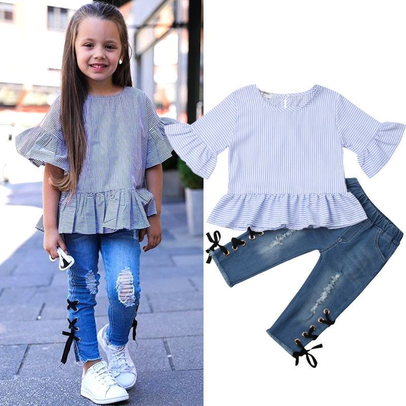 dec2724d3 2019 Spring Autumn Baby Girls Clothing Set Casual Ruffles Flare ...