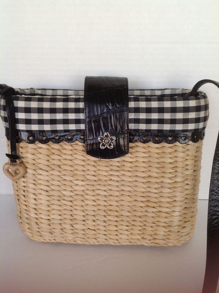Brighton Bag Straw Designer Fashion Checkered Black White Hip Spring Summer Shoulderbag