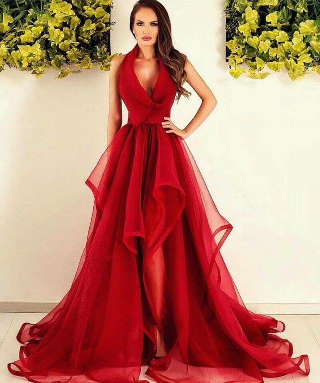 7116c0312 Espectaculares vestidos rojos de fiesta ❤ ❤ Vestidos Románticos