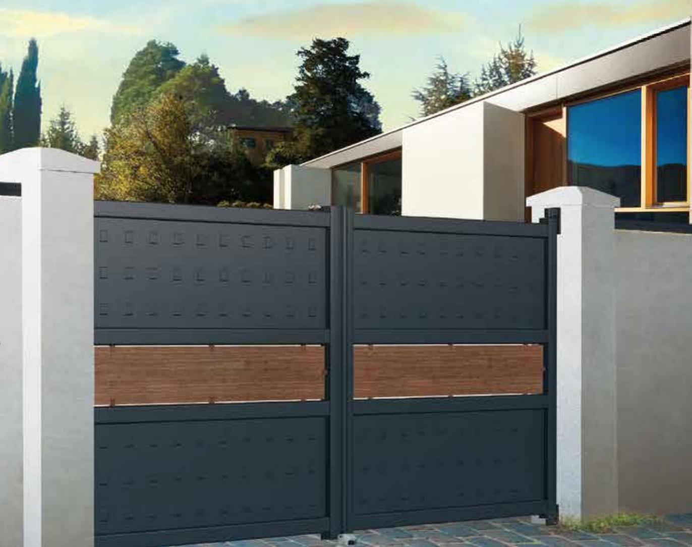 15 id es de portails battants modernes portail battant. Black Bedroom Furniture Sets. Home Design Ideas