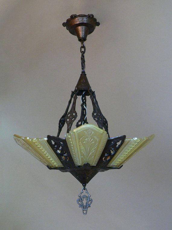 Antique art deco slip shade chandelier by virden from by deconites antique art deco slip shade chandelier by virden from by deconites aloadofball Gallery