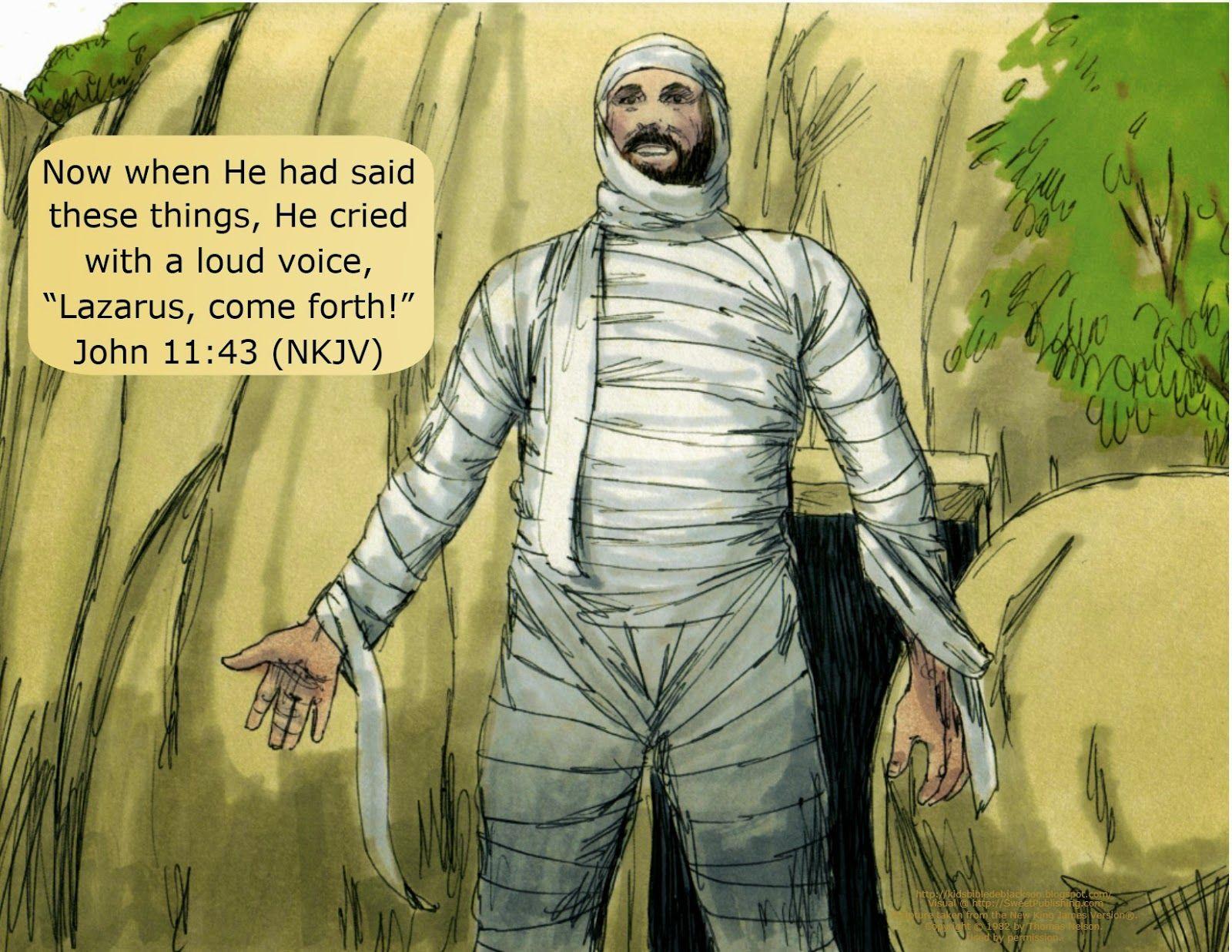 Lazarus Lives Again! Bible illustrations, Bible study