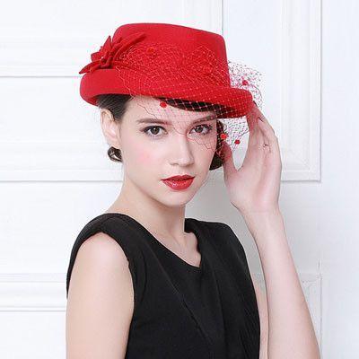 f9a3385268a High Quality Dome Fedoras Banquet Wedding Ladies Church Hats for Black  Women Formal Wool 100% Felt Hat Hair Accessory Bowler Hat