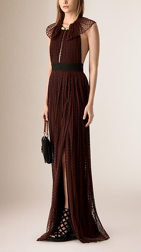 44d015aad2038 Mahogany red Floor-Length Backless Polka Dot Tulle Dress - Image 1