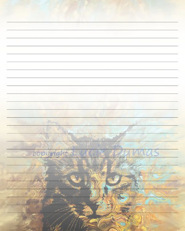 Digital Printable Journal Page Stationary 8x10 JPG Download Lined Paper Cat  617 Template Art Painting Lucie  8x10 Resume Paper