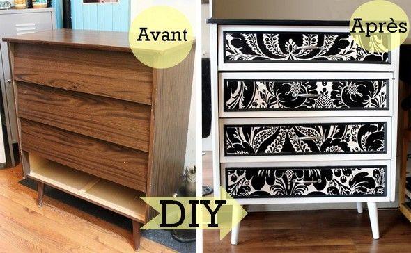 Avant apr s transformer un meuble en m lamine avec du papier peint deco meuble mobilier - Peindre un meuble melamine ...