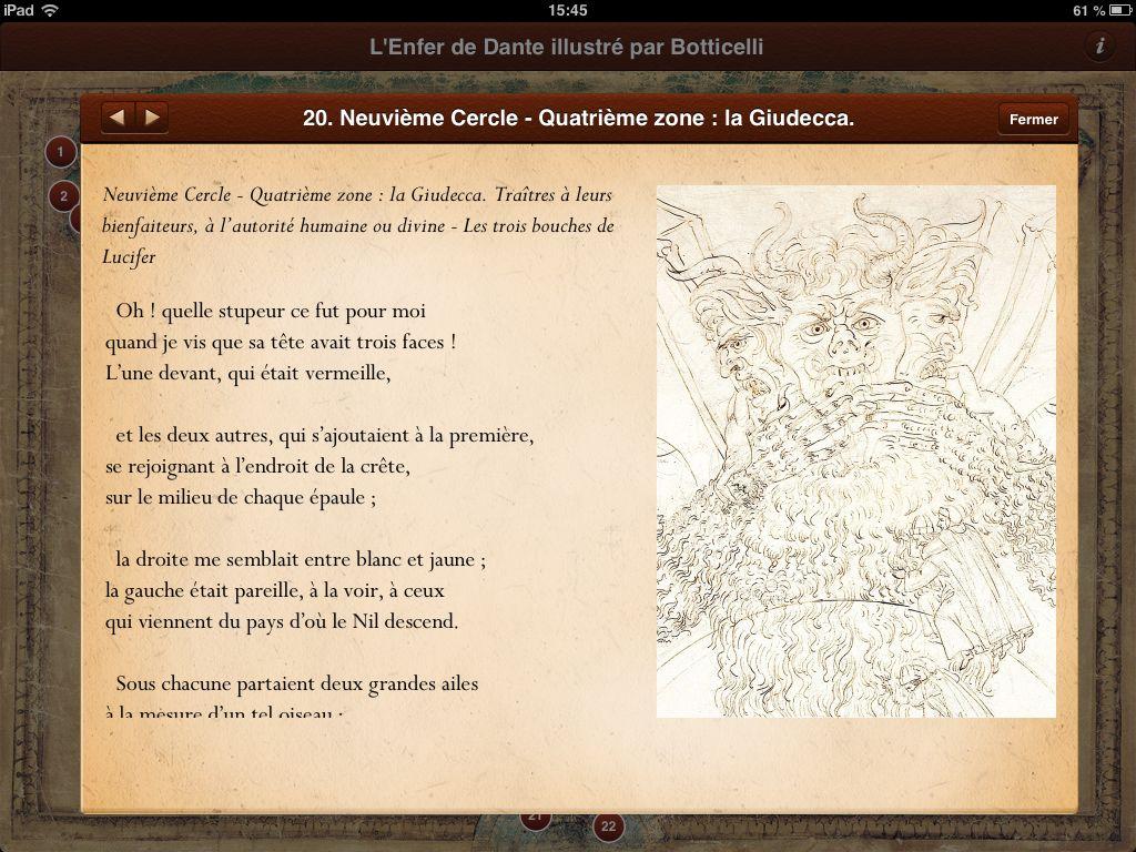 Extrait De L Application L Enfer De Dante Illustre Par Botticelli