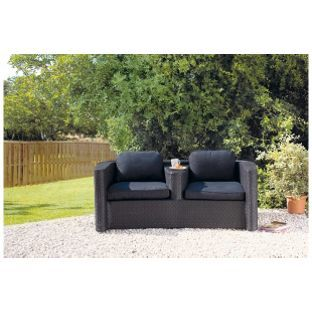 Bali Garden Rattan Duo 2 Seater Sofa Black From