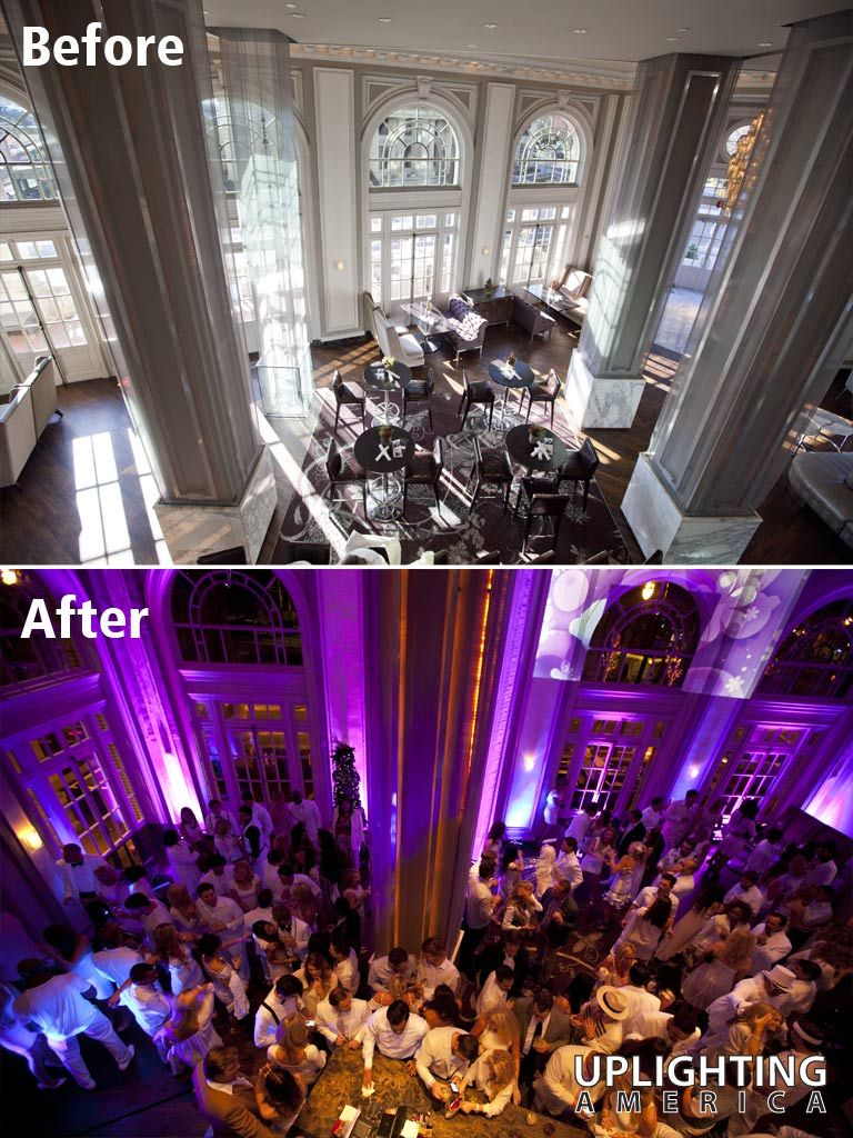 Uplighting Before And After Example From America Atlanta Area Decor Lighting Company Purple Effect At Livingston Bar