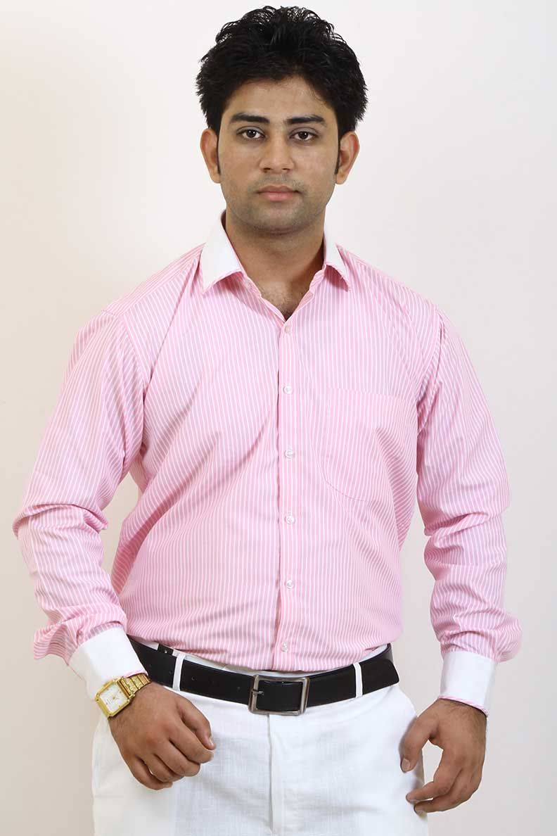 9119b88cd45c Buy Striped Pink and White Formal Shirt For Men Online in India ...
