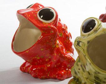 Frog Kitchen Decor   Vintage Ceramic Frog Sponge Holder, Firecracker Red