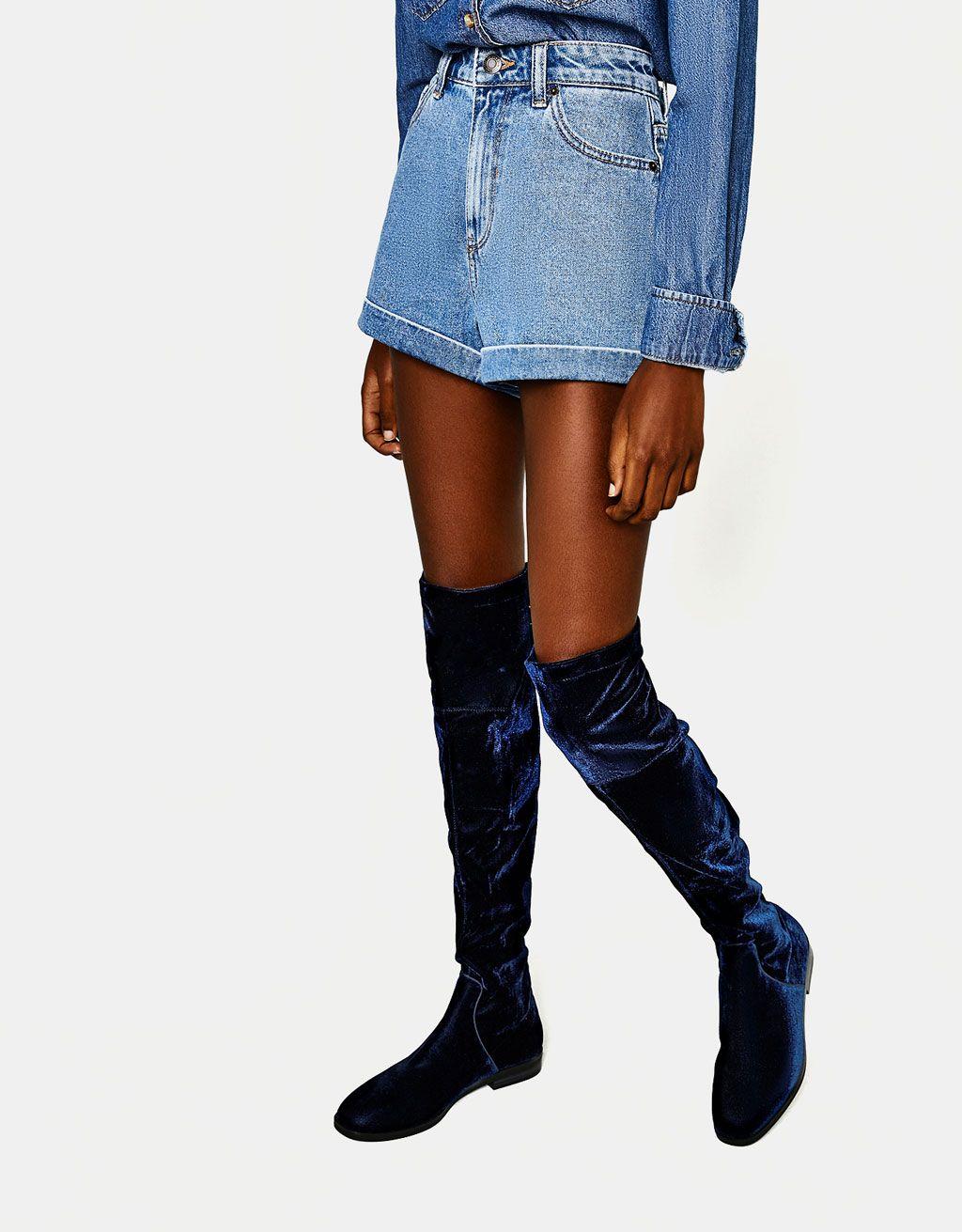 Aksamitne Elastyczne Kozaki Xl Na Plaskiej Podeszwie Mini Skirts Boots Denim Skirt