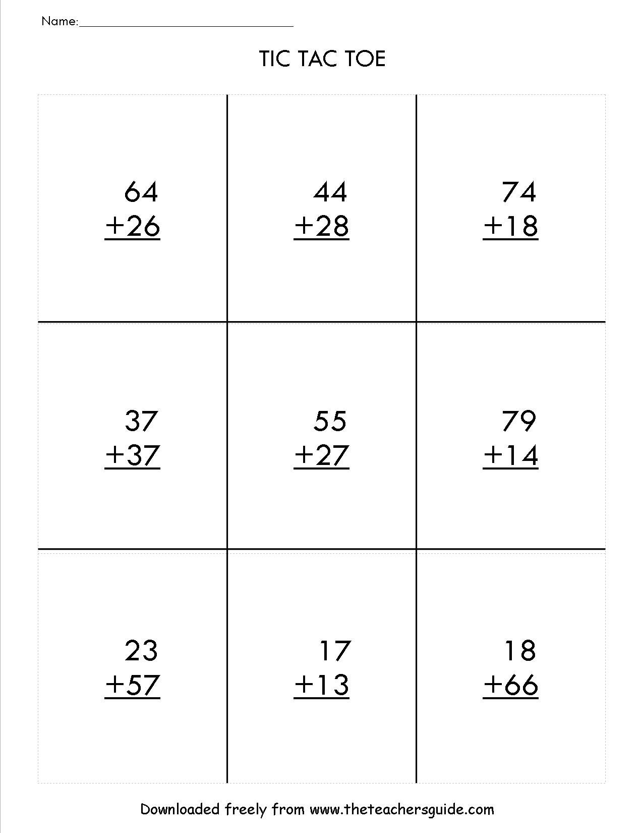 two digit addition with regrouping tic tac toe game math. Black Bedroom Furniture Sets. Home Design Ideas