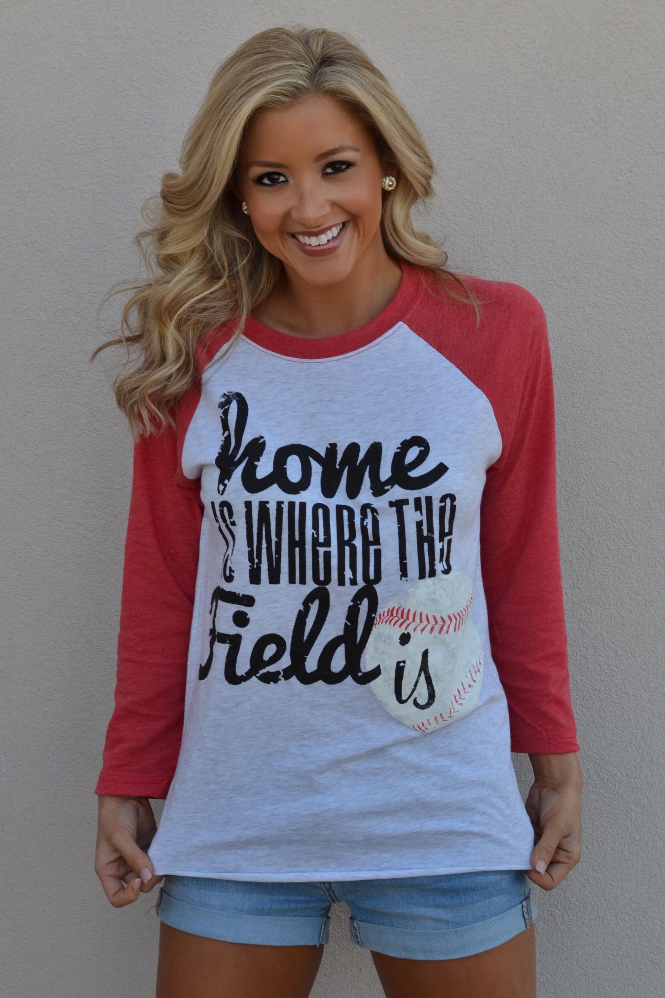 Baseball raglan tee home is where the field is red Designer baseball shirts