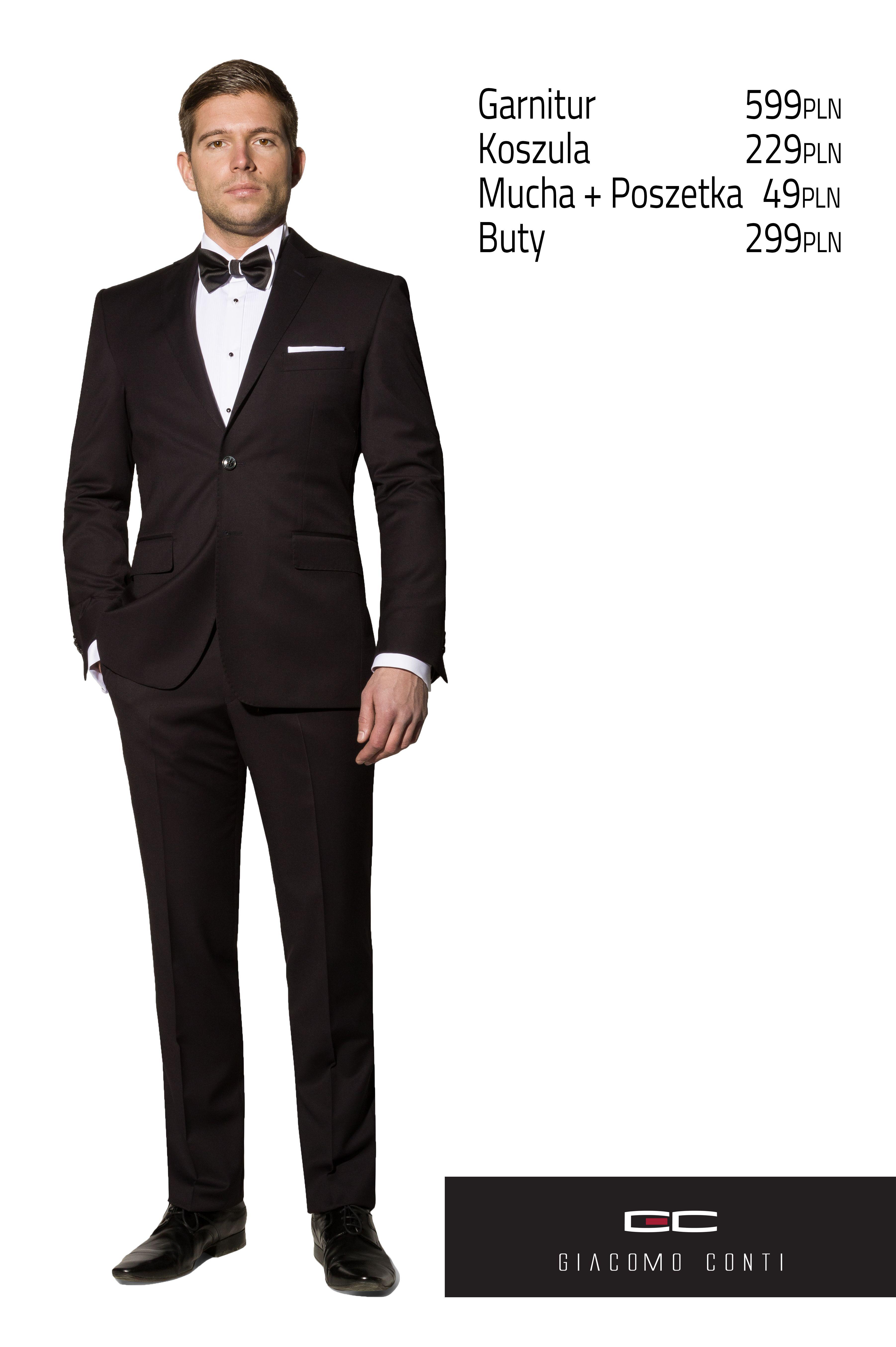 e64f1b5a0396d Stylizacja Giacomo Conti - czarny garnitur Marco 2 A13/37P i biała koszula  Adamo P