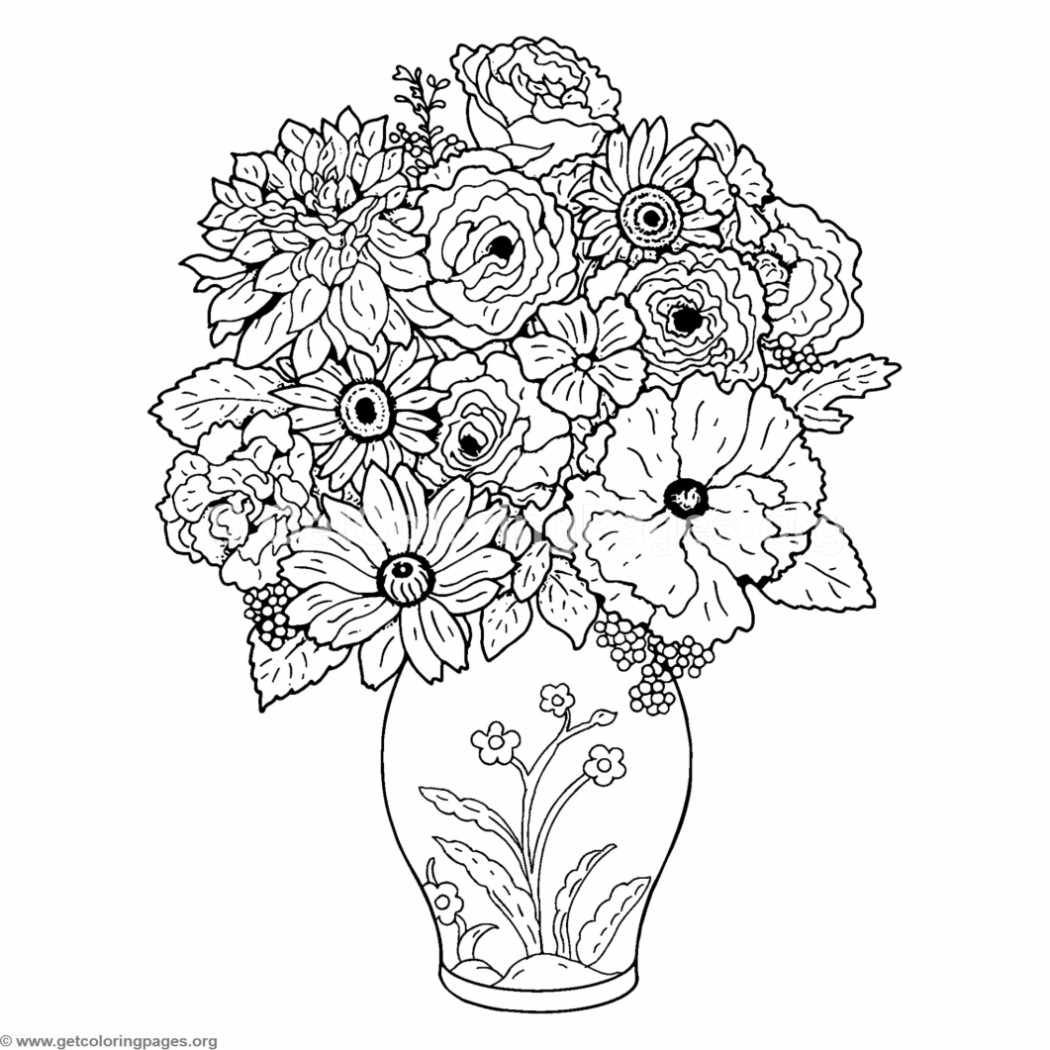 Free Instant Download Bouquet Of Flower And Vase Coloring Pages