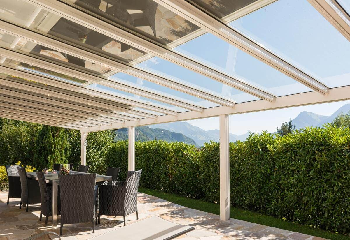 pergolas de aluminio con techo de cristal