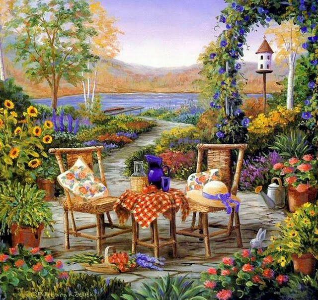 Cuadros de casas con jardines barbara rosbe felisky - Oleos de jardines ...