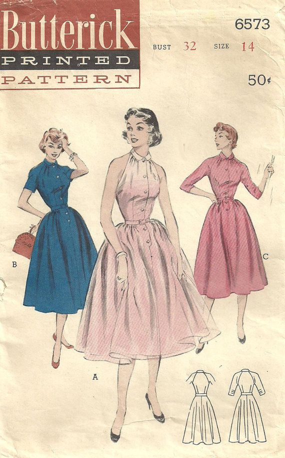 Butterick 6573 Vintage 50s Sewing Pattern by studioGpatterns, $16.50 ...