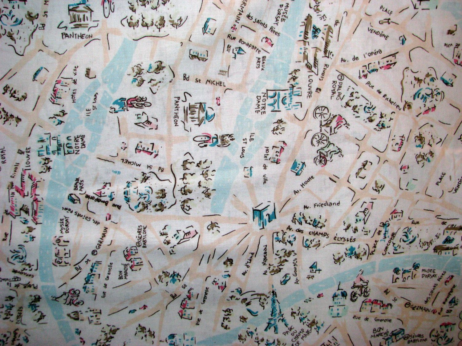 Paris Map Fabric Blue Dear Stella JAdore Paris The Streets - Paris map fabric