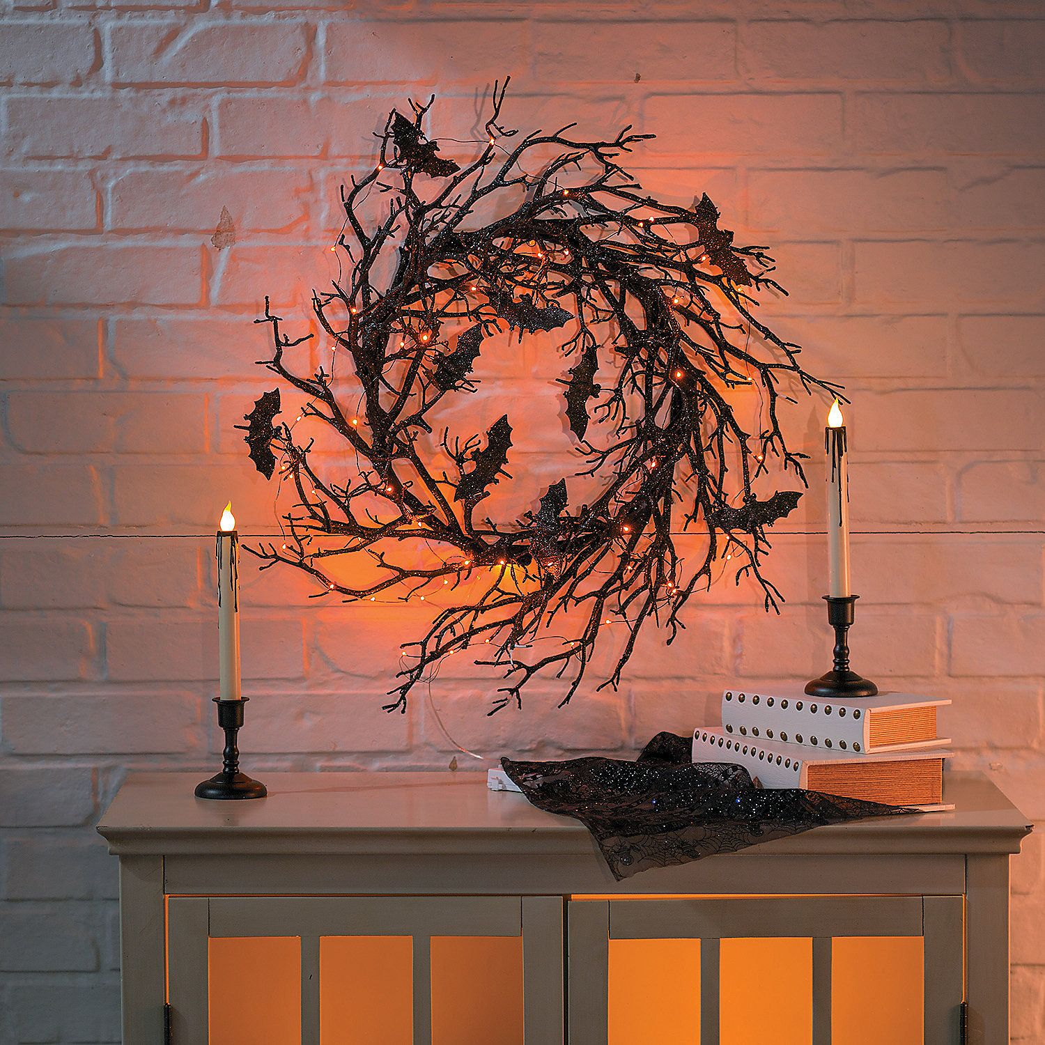 Light Up Black Bat Wreath Orientaltrading Com Halloween