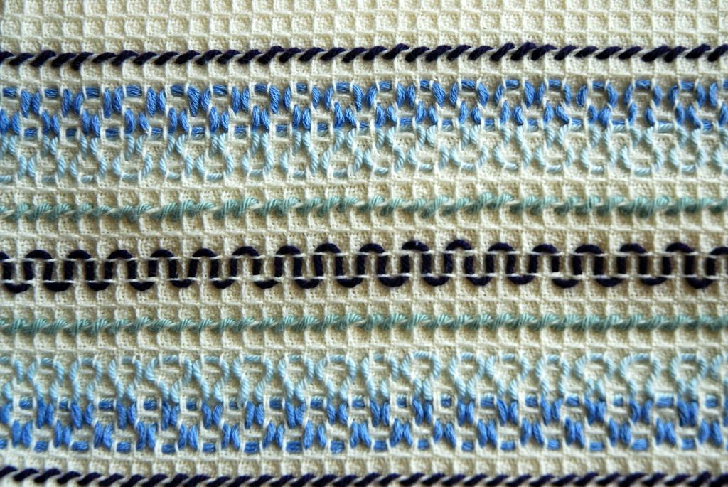 This week I saw in Vasilisa's blog a great book of embroidering to the waffle fabrics. That is something what we did at the school in the ...