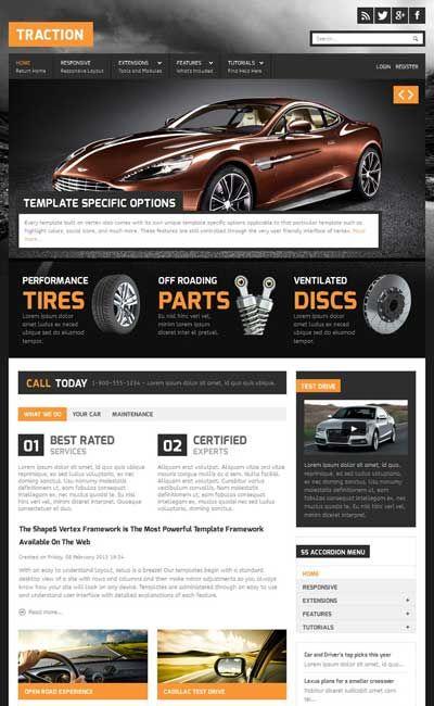 traction car garage responsive joomla template responsive joomla