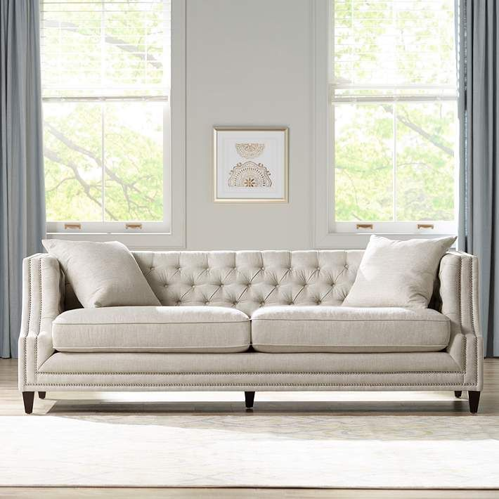 Marilyn 93 Wide White Linen Tufted Sofa 16h93 Lamps Plus Tufted Sofa Living Room Tufted Sofa Living Room Collections