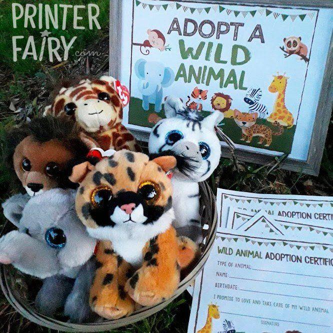 Adopt a Wild Animal, Safari Birthday Party, Safari Sign, Pet Adoption Party, Jungle Birthday Party, Pet Adoption Party, Instant download #petadoption