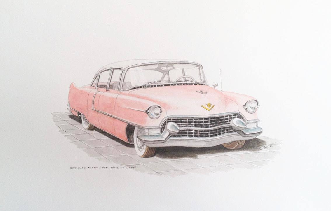 Original painting – Cadillac Fleetwood série 60 (1955) – Classic car watercolor on paper