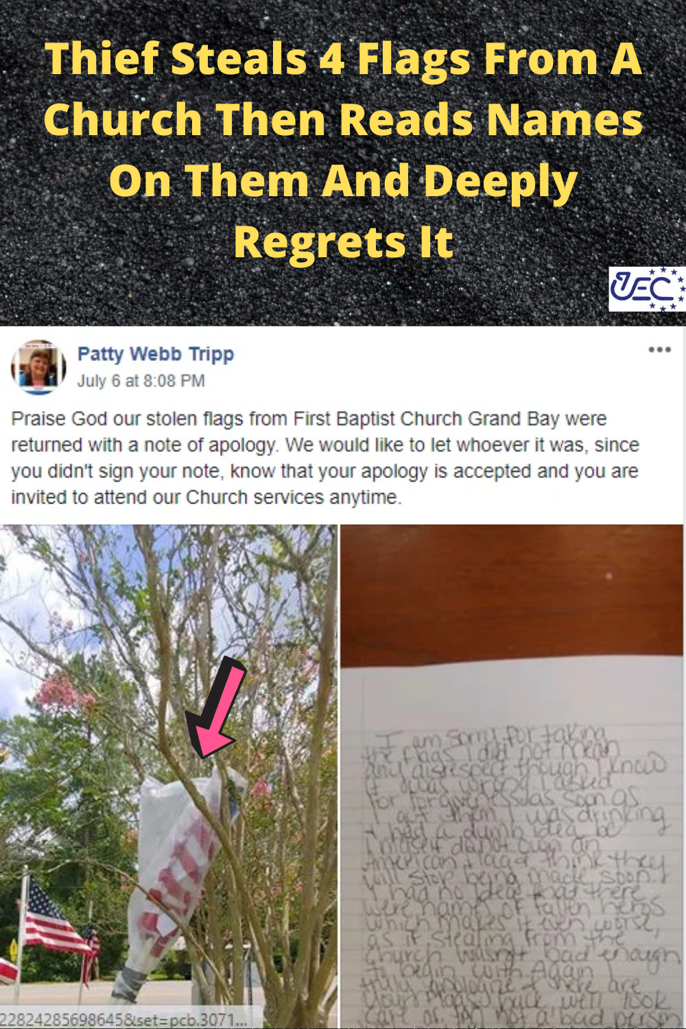 Thief Steals 4 Flags From A Church Then Reads Names On Them And Deeply Regrets It In 2020 Deeply Regret Fun Facts Grand Bay