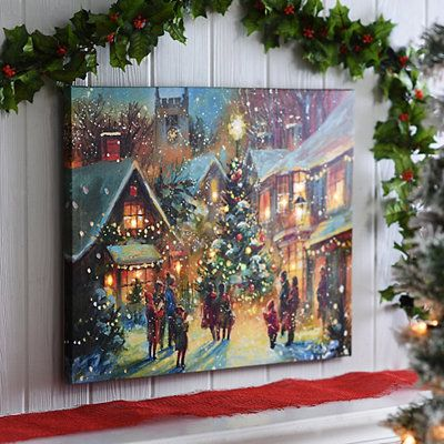 Village Square at Christmas LED Canvas Art Print