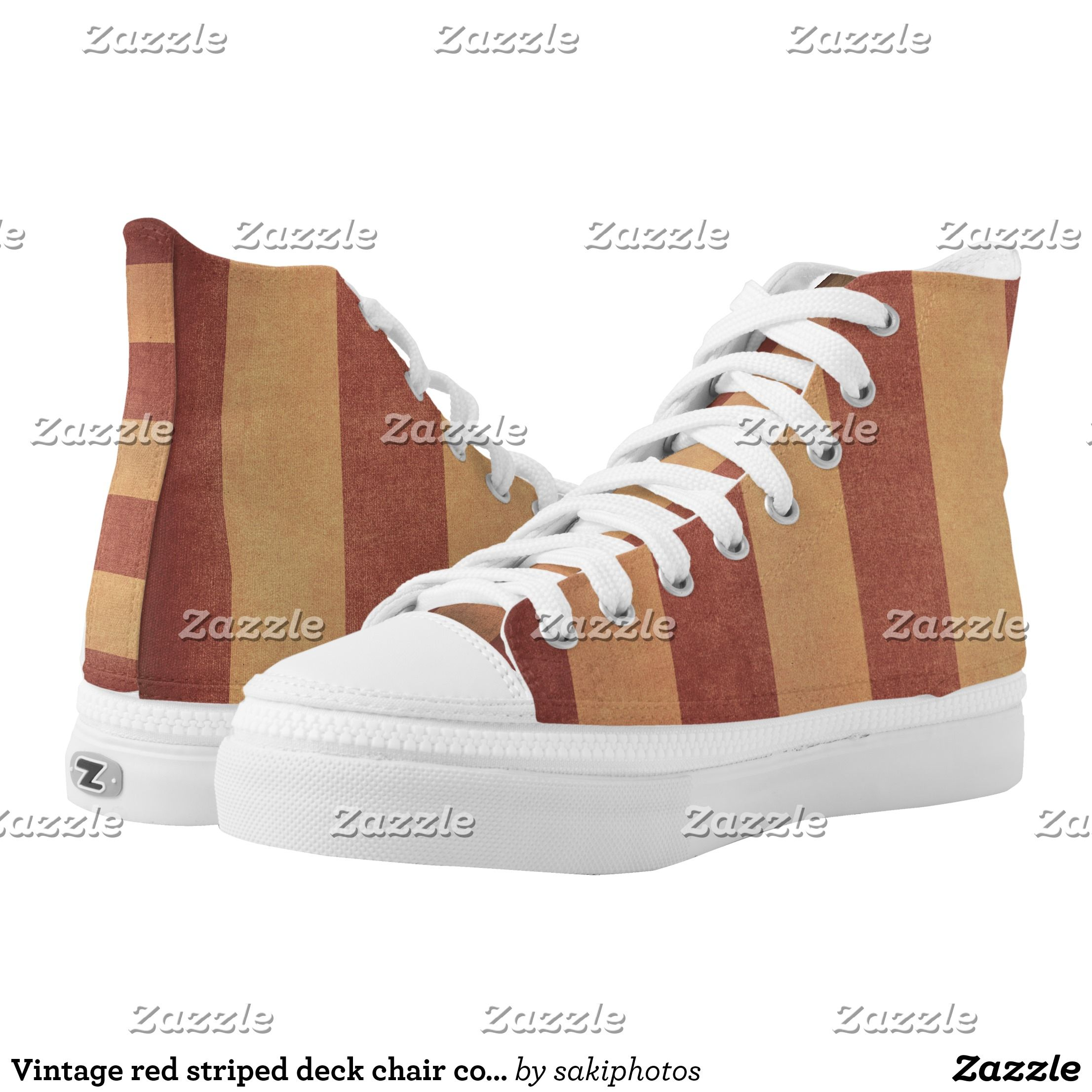 Vintage Red Striped Deck Chair Cover High Top Sneakers Zazzle Com With Images Top Sneakers High Top Sneakers Sneakers